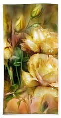 Raindrops On Yellow Roses Hand Towel