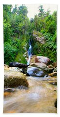 Bath Towel featuring the photograph Rainforest Stream New Zealand by Amanda Stadther