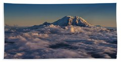 Rainier Hood Adams And St Helens From The Air Hand Towel