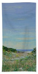 Rainy Day Beach Blues Hand Towel by Gail Kent