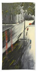 Bath Towel featuring the painting Rainy Street In Melbourne by Pamela  Meredith