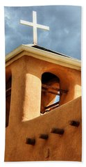 Rancho De Taos Bell Tower And Cross Bath Towel by Lanita Williams