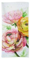 Ranunculus Flowers Hand Towel by Zaira Dzhaubaeva