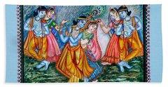 Hand Towel featuring the painting Ras Leela by Harsh Malik