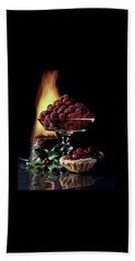 Raspberries In A Glass Serving Dish With Tarts Bath Towel