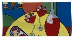 Hand Towel featuring the painting Raspberry Wine by Barbara McMahon