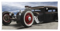 Rat Rod On Route 66 Panoramic Hand Towel