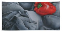 Hand Towel featuring the painting Rather Red by Pamela Clements