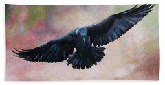 Raven In Flight Hand Towel