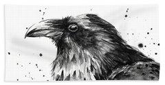 Raven Watercolor Portrait Hand Towel
