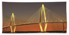 Ravenel Bridge At Dusk Hand Towel by Adam Jewell