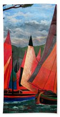 Bath Towel featuring the painting Ravenna Regatta by Tracey Harrington-Simpson