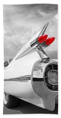 Reach For The Skies - 1959 Cadillac Tail Fins Black And White Bath Towel