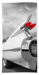 Reach For The Skies - 1959 Cadillac Tail Fins Black And White Bath Towel by Gill Billington