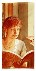 Reading A Book Vintage Style Hand Towel by Irina Sztukowski