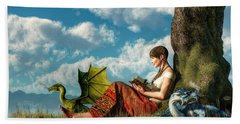 Reading About Dragons Hand Towel by Daniel Eskridge
