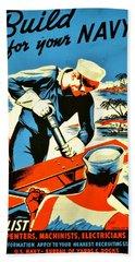 Recruiting Poster - Ww2 - Build Your Navy Hand Towel