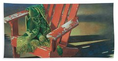Red Adirondack Chair Hand Towel