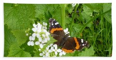 Hand Towel featuring the photograph Red Admiral Butterfly by Lingfai Leung