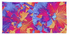 Red And Blue Pansies Pop Art Bath Towel