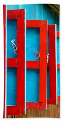 Red And Blue Wooden Shutters Bath Towel