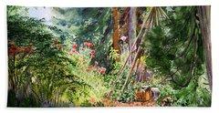 Hand Towel featuring the painting Poppies Season In The Garden  by Irina Sztukowski