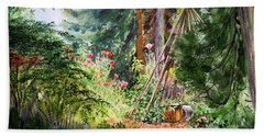 Bath Towel featuring the painting Poppies Season In The Garden  by Irina Sztukowski