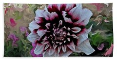 Red And White Dahlia  Hand Towel