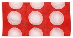 Red And White Shibori Circles Bath Towel