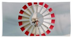 Hand Towel featuring the photograph Red And White Windmill by Cynthia Guinn