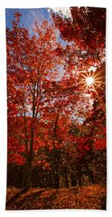 Hand Towel featuring the photograph Red Autumn Leaves by Jerry Cowart