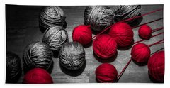 Bath Towel featuring the photograph Red Balls Of Thread by Sotiris Filippou