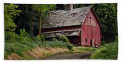 Red Barn - County Road  Bath Towel