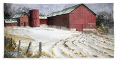 Hand Towel featuring the painting Red Barn On Rt. 49 by Roger Rockefeller