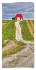 Red Barn On The Hill Hand Towel