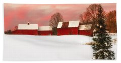 Red Barn Sunset Hand Towel
