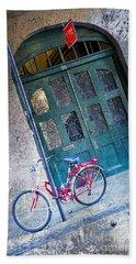 Hand Towel featuring the digital art Red Bike by Erika Weber