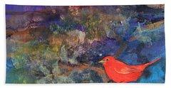Red Bird Bath Towel