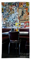 Red Booth Awaits In The Diner Hand Towel by Nina Prommer