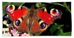 Bath Towel featuring the photograph Red Butterfly In The Garden by Jeremy Hayden