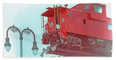 Red Caboose In The Sky2 Bath Towel