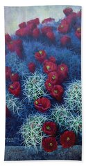 Hand Towel featuring the painting Red Cactus by Rob Corsetti
