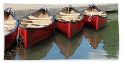 Red Canoes Bath Towel by Marcia Socolik