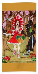 Hand Towel featuring the painting The Little Riding Hood And The Wolf In Chucks by Don Pedro De Gracia