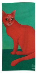 Hand Towel featuring the painting Red Cat by Pamela Clements