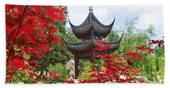 Red - Chinese Garden With Pagoda And Lake. Hand Towel