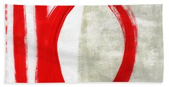Red Circle 5- Abstract Painting Hand Towel