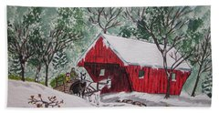 Hand Towel featuring the painting Red Covered Bridge Christmas by Kathy Marrs Chandler