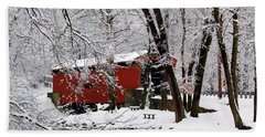Red Covered Bridge Winter 2013 Hand Towel