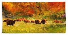 Red Devon Cattle In Autumn -cattle Grazing Bath Towel